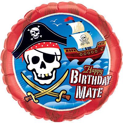Happy Birthday Skulls (Happy Birthday Mate Pirate Party Skull Foil Balloon 18