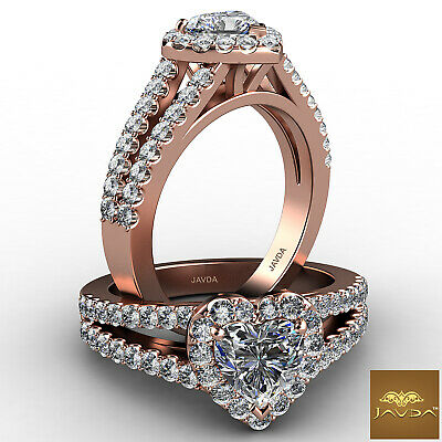 Halo Split Shank French Pave Heart Cut Diamond Engagement Ring GIA H VS2 1.25 Ct 8
