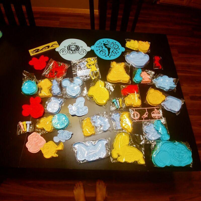 Disney Plastic Cookie Cutter Box Bulk Lot Set, Multiple Disney Characters - New