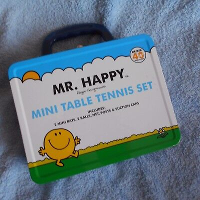 mr men happy figure new in tin table tennis set TV TOY box kids game gift