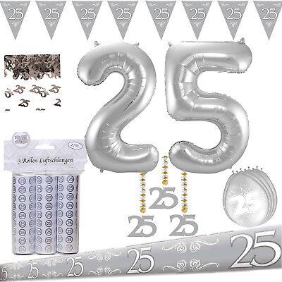 Deko Party Set Silberne Hochzeit Silberhochzeit 25. Jahre + Riesen Folienballon