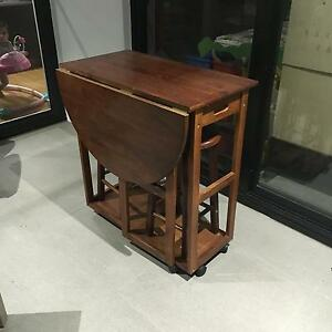 Wooden Extendable and Movable Trolley with Stools Lutwyche Brisbane North East Preview