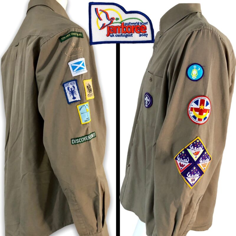 Boy Scout Scoutmaster Shirt 2007 World Jamboree UK 12th Fife Council 14 Patches