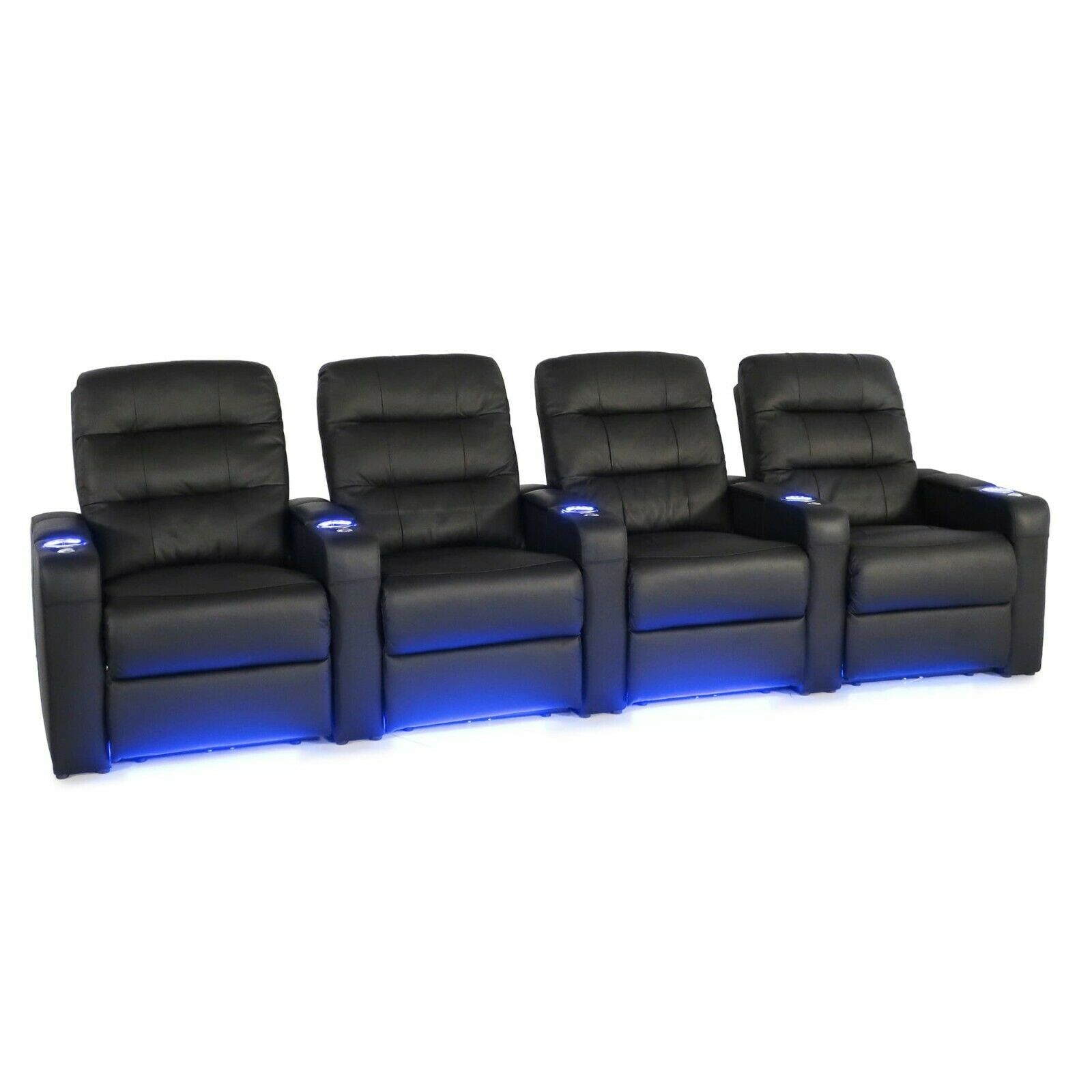 Seatcraft Excalibur Black Leather Home Theater Seating Power