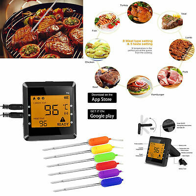 6 Probes Digital Wireless Kitchen Cooking Thermometer Bluetooth Food BBQ Smoker