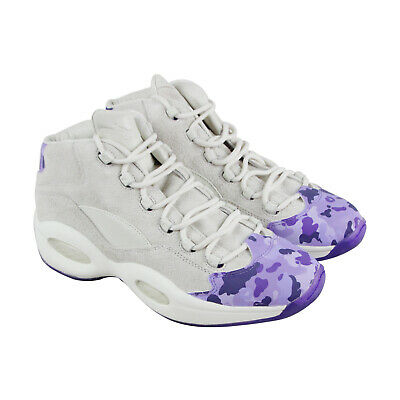 Reebok Question Mid Camron Mens Gray Suede Athletic Basketball Shoes
