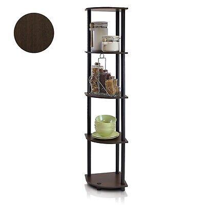5 Tier Corner Shelf Home Bookcase Rack Wall Office Storage Unit Black Brown