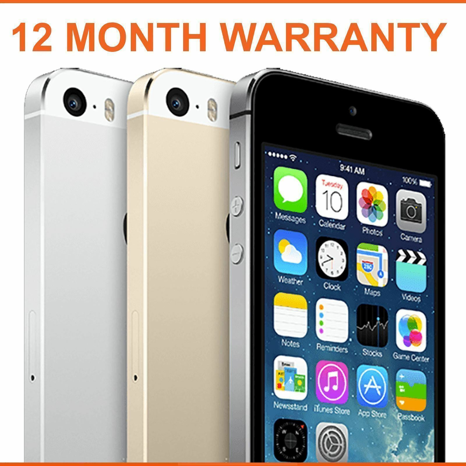 SELLER REFURBISHED APPLE IPHONE 5S 16GB 32GB 64GB SPACE GREY SILVER GOLD UNLOCKED SMARTPHONE