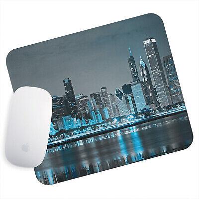 Uk Seller Anti-slip Gaming Mouse Pad Mat Pc Laptop Blue Black Grey City Skyline