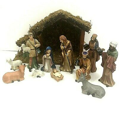 12 Piece Nativity Set Ceramic Porcelain w/ Wooden Manger Stable in Box Target