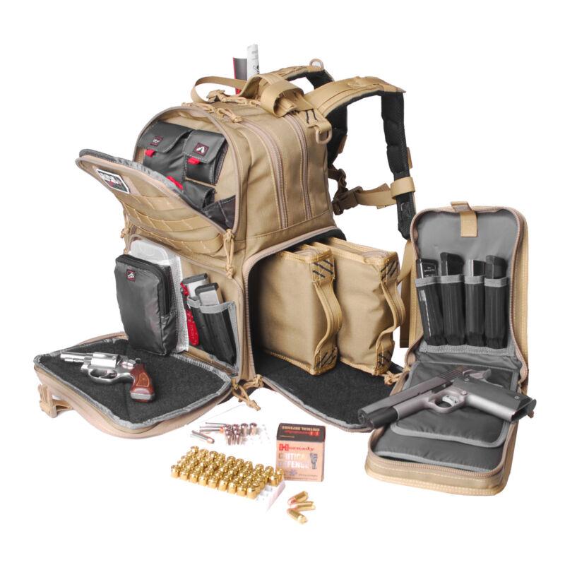GPS Tactical Range Backpack 3 Internal Pistol Cases Waterproof Outdoor Gun Bag