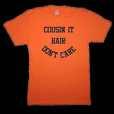 cousin it hair don't care t shirt funny halloween costume idea trick or treat (Orange Hair Halloween Costume Ideas)
