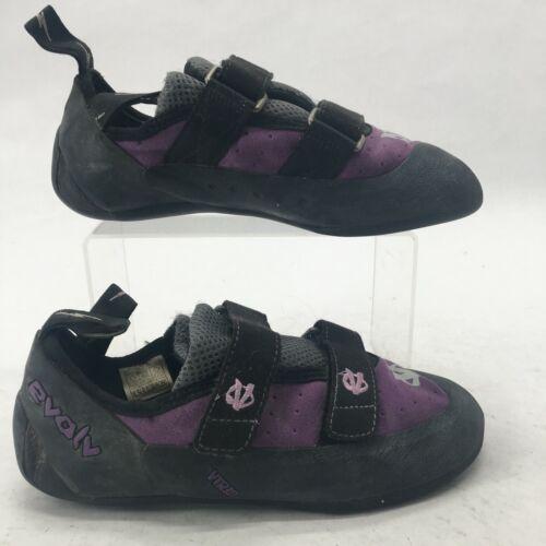 Evolv Womens 8.5 Defy Vtr Ecotrax Climbing Shoes Hook & Loop Strap Black Purple