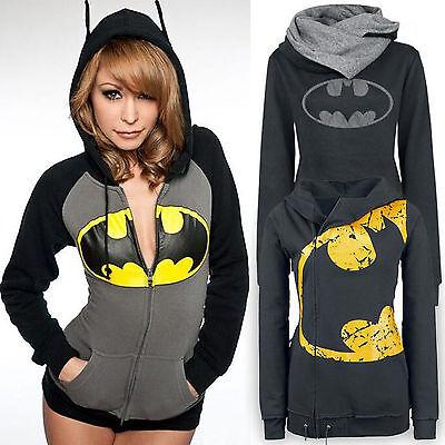 Batman Damen Shirt (Damen Batman Kapuzenpullover Sweatshirt Hoodies Kapuzen Pullover Jacke Coat Tops)