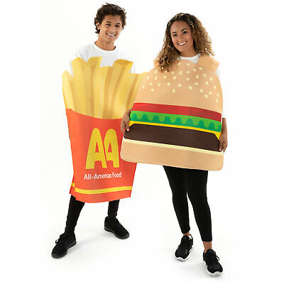 Burger & Fries Halloween Couple Costumes - Funny Unisex Food Suits for