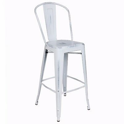 New Oversized Viktor Steel Restaurant Bar Stool With Distressed White Finish