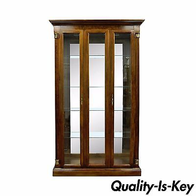 (83 x 46 Vintage Pulaski Cherry Lighted Mirrored Curio Display Cabinet Bookcase)