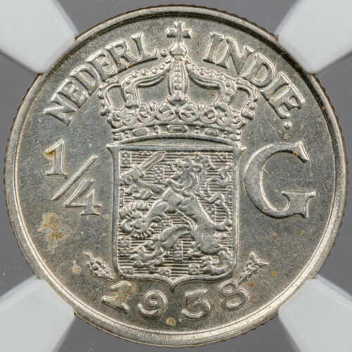 1938 NETHERLANDS EAST INDIES 1/4 GULDEN SILVER NGC UNC DETAILS CLEANED (DR)