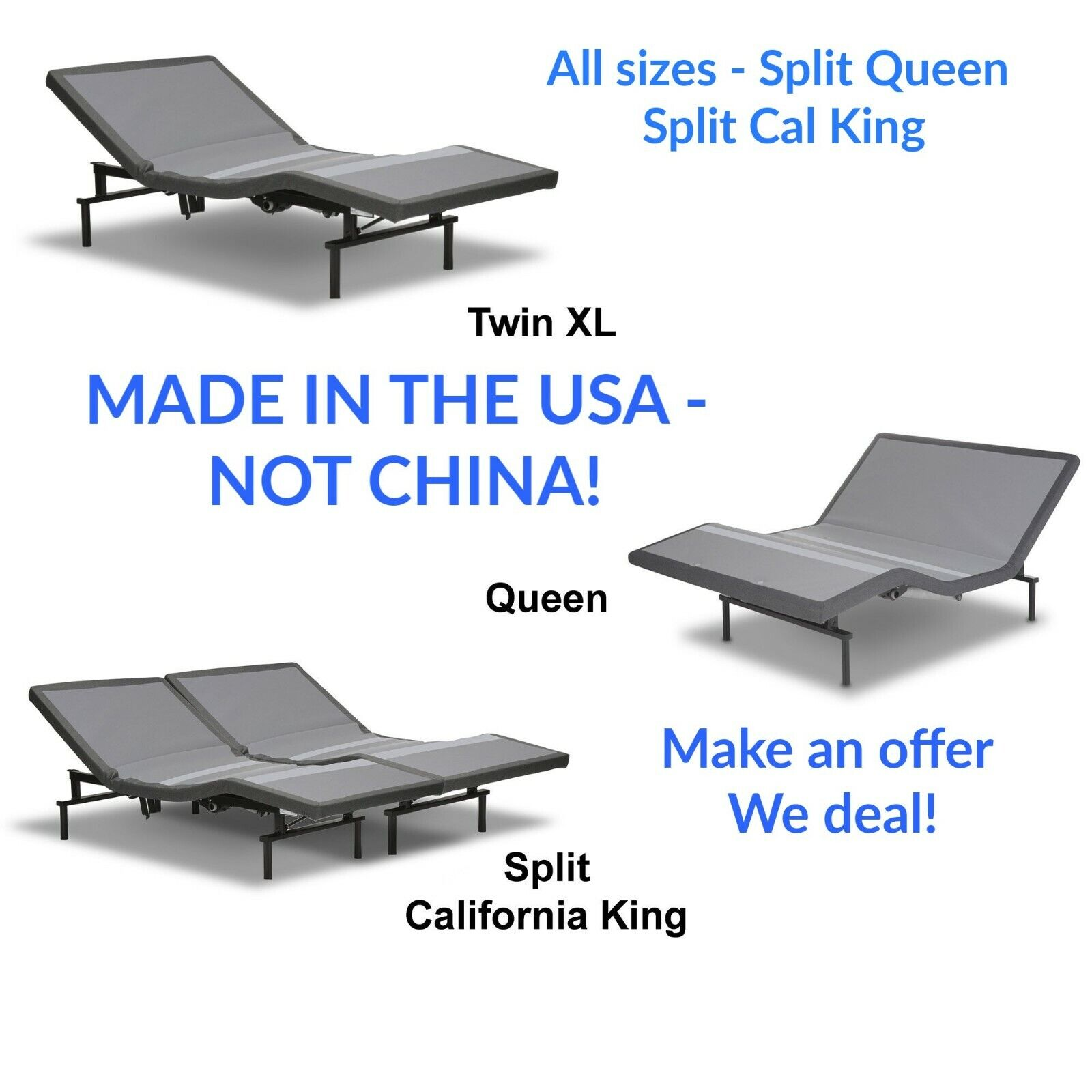SPLIT QUEEN ~ FULL MOTION  ADJUSTABLE ELECTRIC BED and TALAL