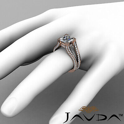 Circa Halo Split Shank Princess Diamond Engagement Pave Set Ring GIA H VS2 2.4Ct 11