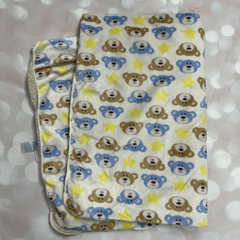 Kidgets Teddy Bear Face Baby Blanket Stars Tan Yellow Blue White Sherpa Lovey