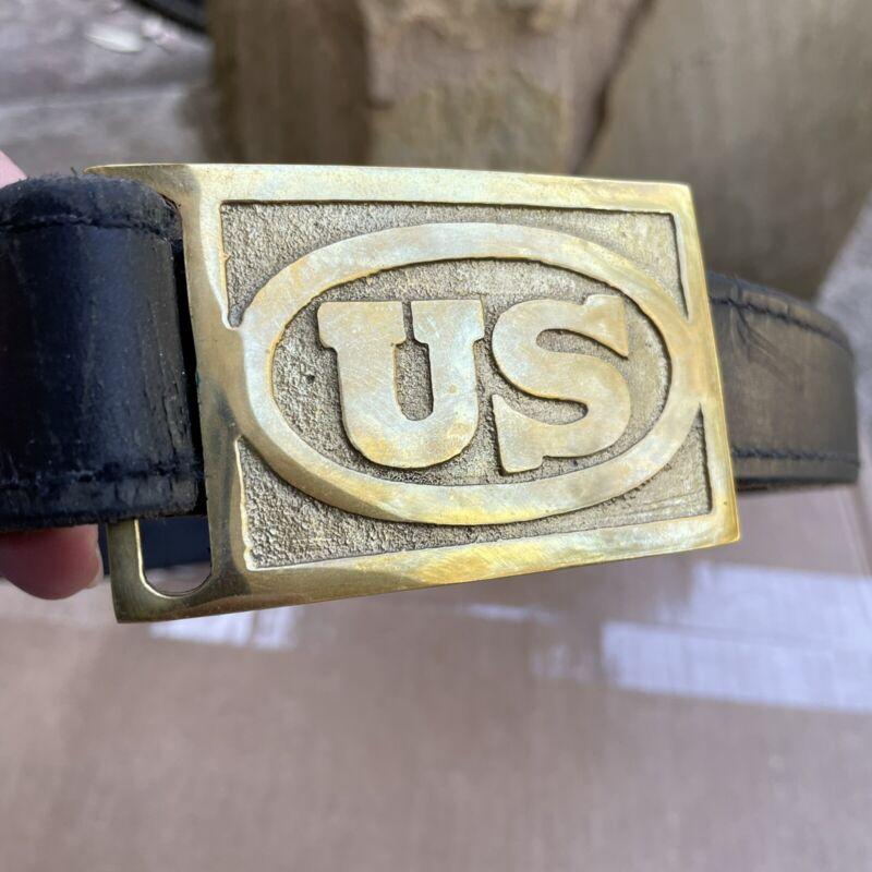 US Indian War Enlisted Mans Solid Brass Rectangle Belt Buckle