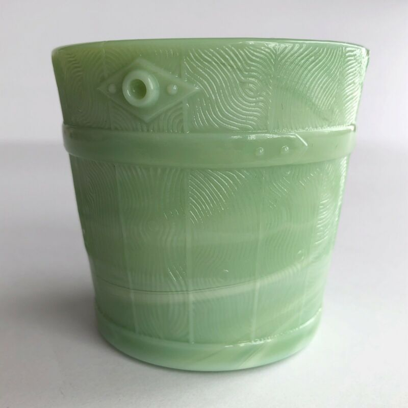 MARTHA STEWART BY MAIL JADEITE GREEN MILK GLASS VOTIVE BUCKET CANDLE HOLDER
