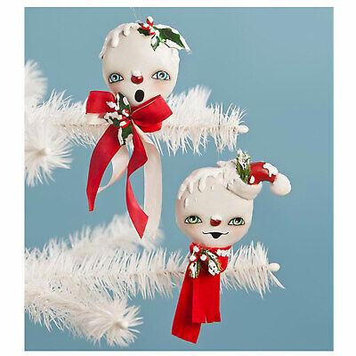 Set/2 Bethany Lowe Holly Jolly Snowmen Christmas Tree Retro Vntg Ornament Decor
