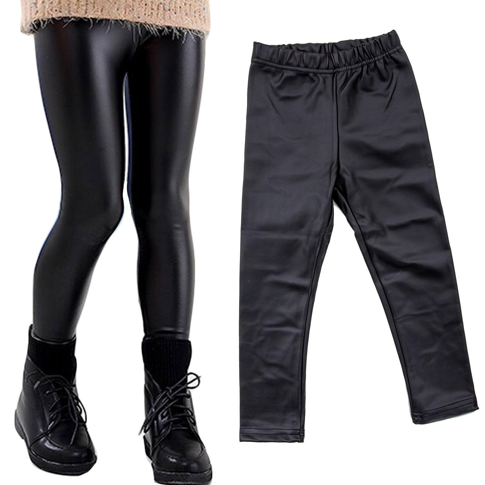 davvero comodo cercare vendita economica Leggings Baby Girl Leather Effect PANTS LIQUID LEGGINGS NEW 816 | eBay