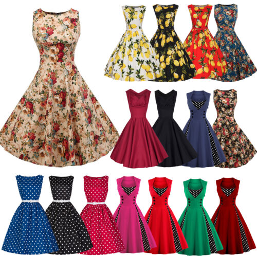 Dress - Womens 50's 60's Rockabilly Swing Dress Vintage Evening Cocktail Party Dresses
