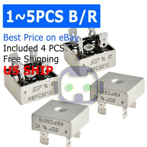 1~5PCS LOT 1000V 50A Metal Case Single Phase Diode Bridge Rectifier KBPC5010 USA