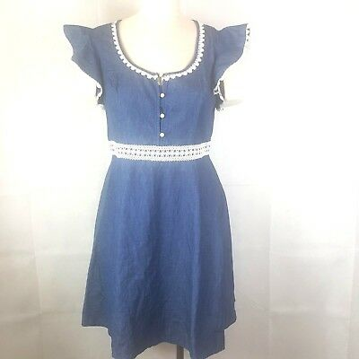 Beauty And The Beast Dress Sz L Blue Denim Scoop Neck Crochet Trim - Beauty And The Beast Blue Dress
