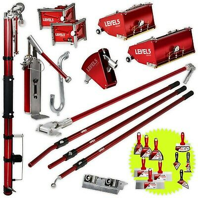 Drywall Taping Tools Set W Mega 10 12 Flat Boxes And Auto Taper Level5