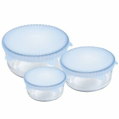 Chef Buddy Set of Three Universal Reusable Silicone Food Covers for Round Bowls