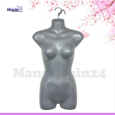 Female Hanging Torso Mannequin Dress Body Form Grey Silver Women Display