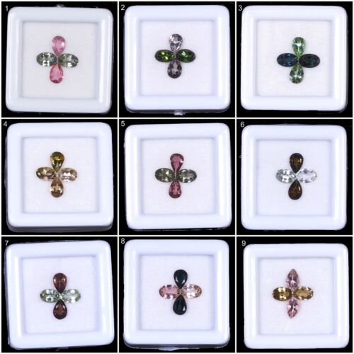 Natural Tourmaline Wholesale Lots Multi Color 6mm/4mm 4 Pcs Mix Cut Gemstones