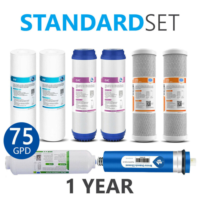 1 Year Reverse Osmosis System Replacement Filter 8 Filters 75 GPD Membranes