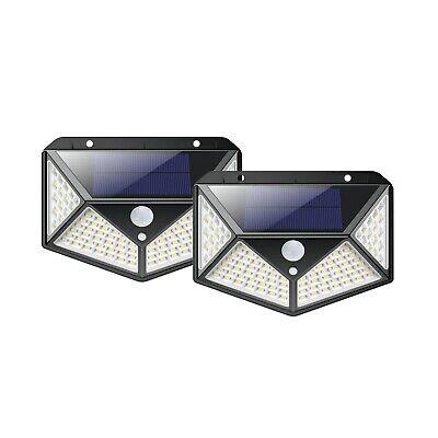 2 LAMPADE 100 LED SOLARE DA ESTERNO GIARDINO FARETTO FOTOVOLTAICO CON SENSORE