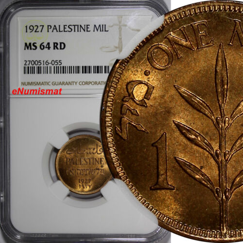 Palestine Bronze 1927 1 Mil GRADED NGC MS64 RD FULL BRIGHT RED  KM# 1