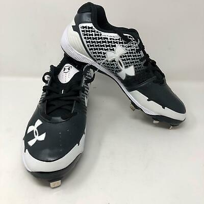 db873a52b424 NWOB Mens Under Armour Heater ST Baseball Metal Cleats Size 11.5 Black White