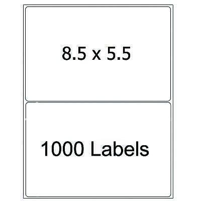 1000 Half Sheet 8.5x5.5 Shipping Labels Self Adhesive Round Corner Laser Inkjet