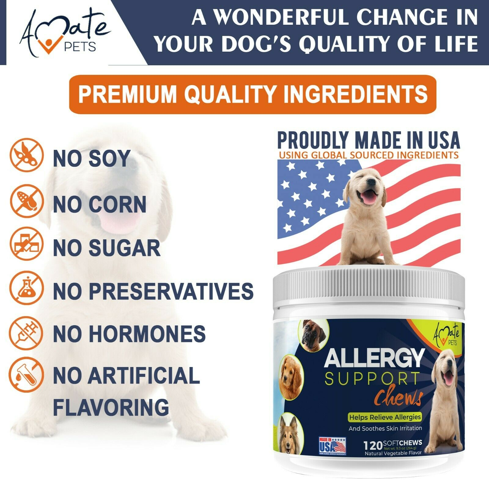 Allergy Relief Immune Supplement for Dogs - Itching Skin Relief Amate Pets 4