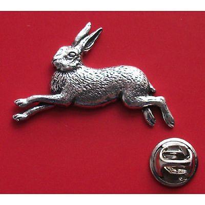 English Pewter HARE RUNNING Pin Badge Tie Pin / Lapel Badge - XTSBPA02