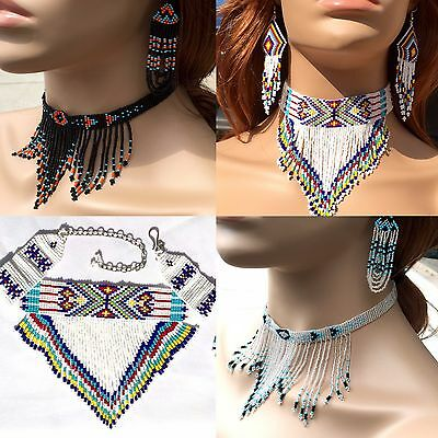 NEW HANDMADE BEADED CHOKER STATEMENT NECKLACE EARRINGS SET NATIVE STYLE (Beaded Set Necklace)