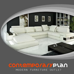 Modern Ivory Italian Leather Sectional Sofa With Built In Light And Shelve  Large