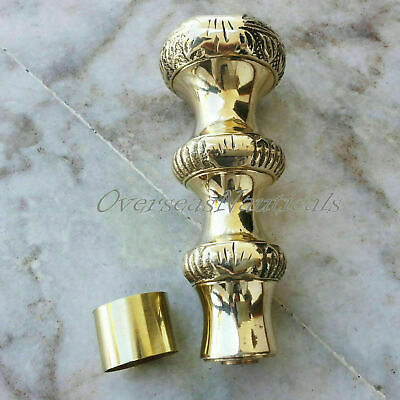 VINTAGE SOLID BRASS CANE HANDLE FOR WALKING STICK WITH CONNECTOR HANDMADE GIFT
