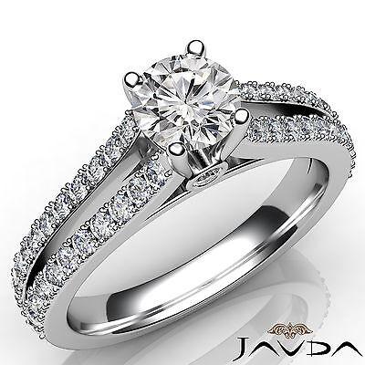 Shiny Round Diamond Split Shank Engagement Ring GIA H SI1 18k White Gold 1.38Ct