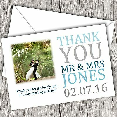 Photo WEDDING Thank You Cards • Personalised • Fast Post (Teal (Wedding Thank You Wording)