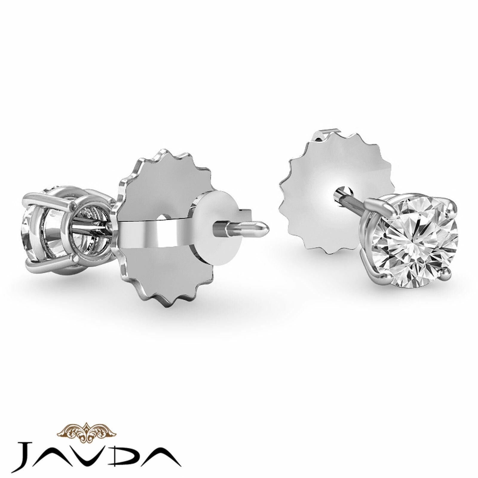 4 Prong Double Wire Round Cut Diamond 1 Pair Stud Women's Earrings 1/2 ctw. 2
