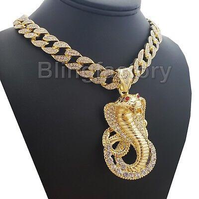 Hip Hop Iced Cobra Snake Pendant & 18